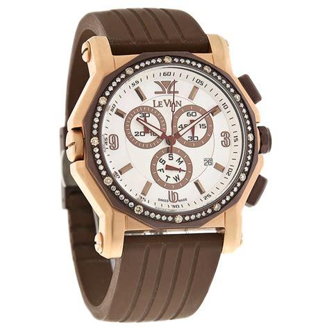 levian mop swiss quartz chronograph brown