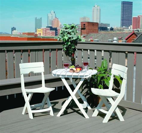 Cafe Bistro Table Chair Set Folding Garden Balcony White Outdoor Patio Furniture