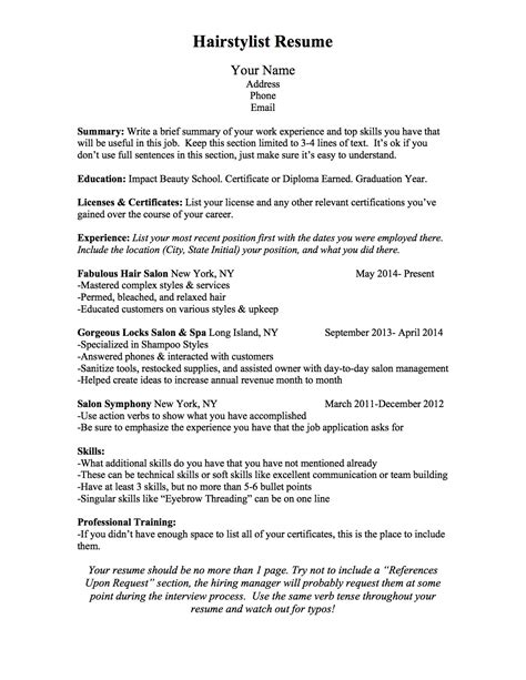 bcn script what should a hairstylist resume look like