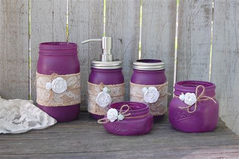 plum bathroom accessories set plum mason jar bathroom set the vintage artistry