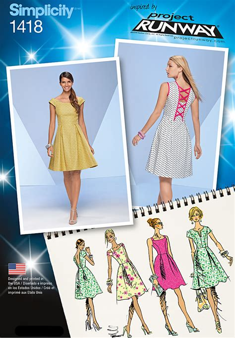 pattern runway review simplicity 1418 misses dress with bodice variations