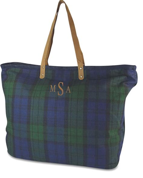 tartan plaid carry  tote bag monogram
