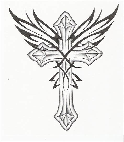 gothic cross tattoos pin cross drawing and wings picture to