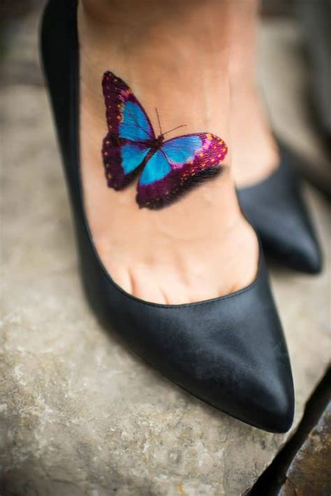 3d tattoo on foot 3d butterfly tattoo ideas and 3d butterfly tattoo designs