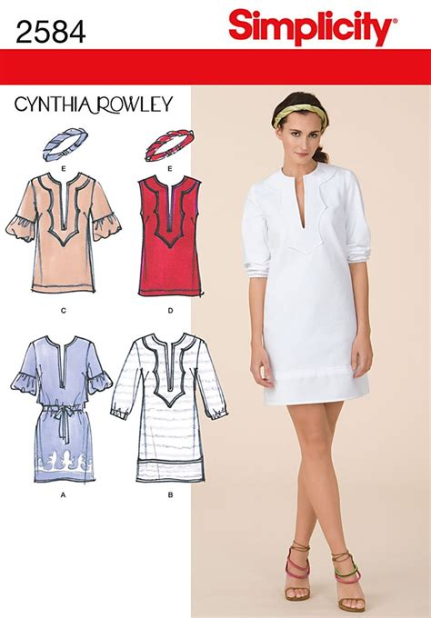 sewing pattern tunic dress simplicity 2584 misses dresses cynthia rowley collection