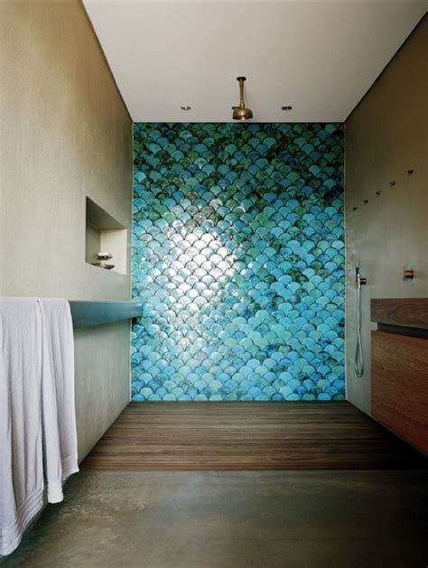 Unique Turquoise Fish Scale Shower Tiles Alden Pinterest