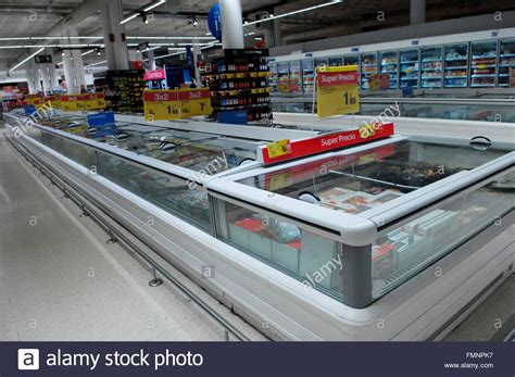 Freezer Carrefour frozen food section in a carrefour supermarket malaga