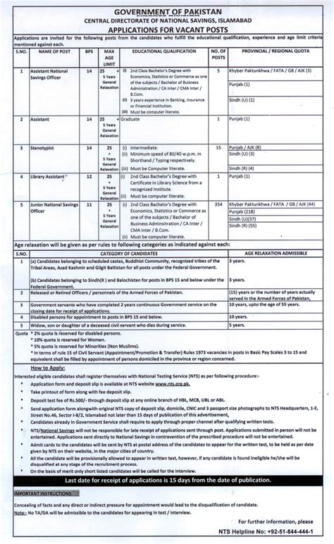 test pattern of junior national saving officer central directorate of national savings jobs 2015 nts form