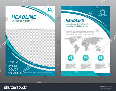 Powerpoint Design Vorlage Schlicht Layout Flyer Template Size A4 Cover Stock Vector 421119124