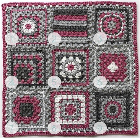 Patchwork Square Patterns - crochet meets patchwork quot afghan fuchsia square