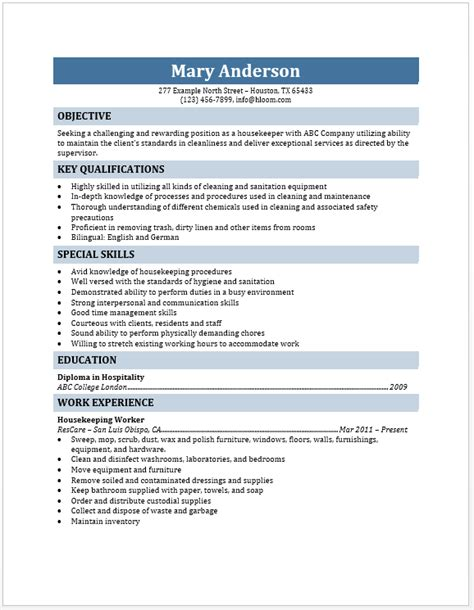 exle housekeeping resume housekeeper resume blue layouts