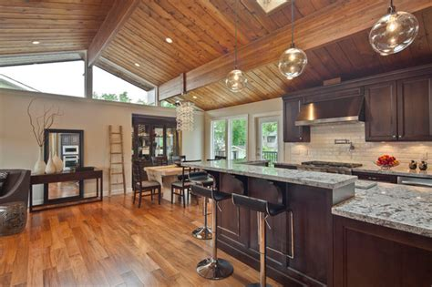 wood ceiling kitchen kitchen with wood paneled ceiling and skylight