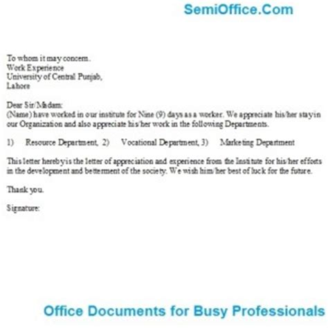 Work Experience Letter For Staff Contract Work Experience Certificate Semioffice