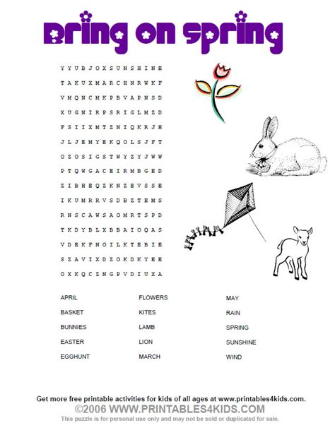 printable word search about spring free word bank coloring pages