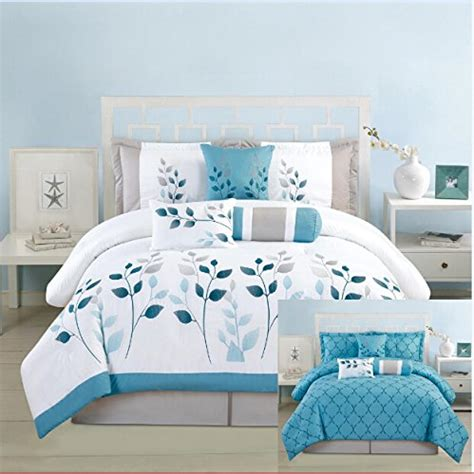 7piece queen luxury reversible blue white grey turquoise