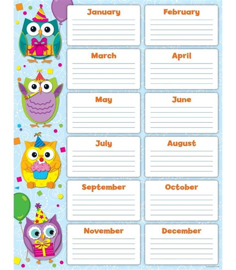 theme list for students colorful owls birthday chart classroom d 233 cor from carson