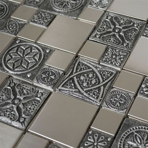 metal wall tiles kitchen backsplash stainless steel metal mosaic tile for kitchen backsplash fireplace wall decor ebay