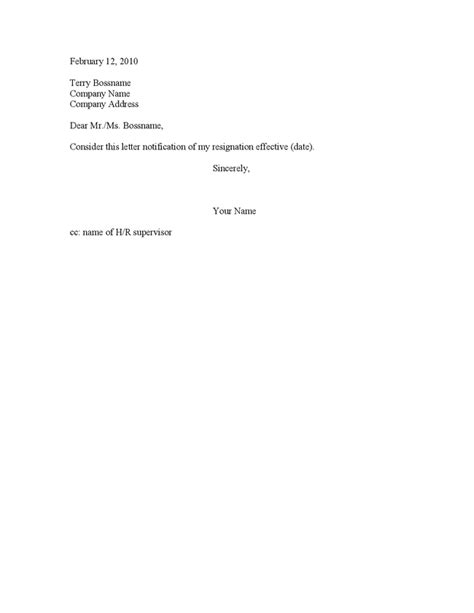 Simple Letter Of Resignation Sles by Notice Resignation Effective Letter Exles Of Simple Resignation Letters Resignation