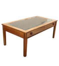 Glass Top Display Coffee Table With Drawers Plantation Display With Glass Top And Drawer Coffee Table