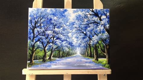 acrylic paint canvas pretty tree line road acrylic painting doovi