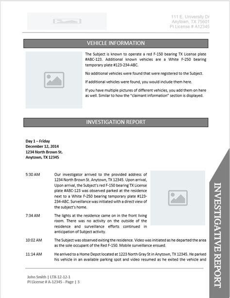 investigator report templates investigator report templates free business template