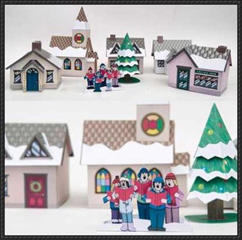 free printable christmas diorama christmas village free papercraft download