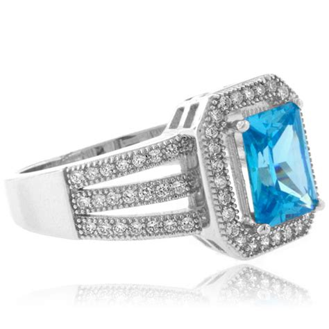 emerald cut blue topaz sterling silver ring silverbestbuy
