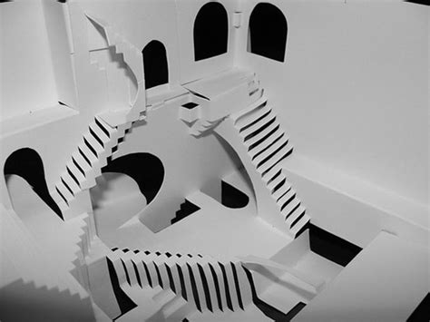 Mc Papercraft - m c escher s quot relativity quot kirigami by crackpot