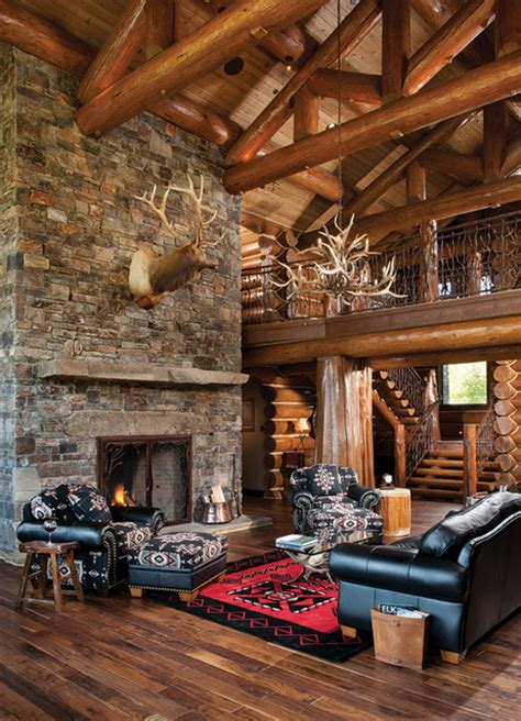 Fireplace Wyoming by Handcrafted Log Home The Jackson Residence Great
