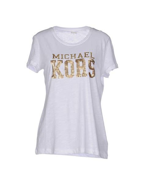 Bc Kors Top Blouse Wanita Top T Shirt Dress Runik Spandek Soft Fit L lyst michael michael kors t shirt in white