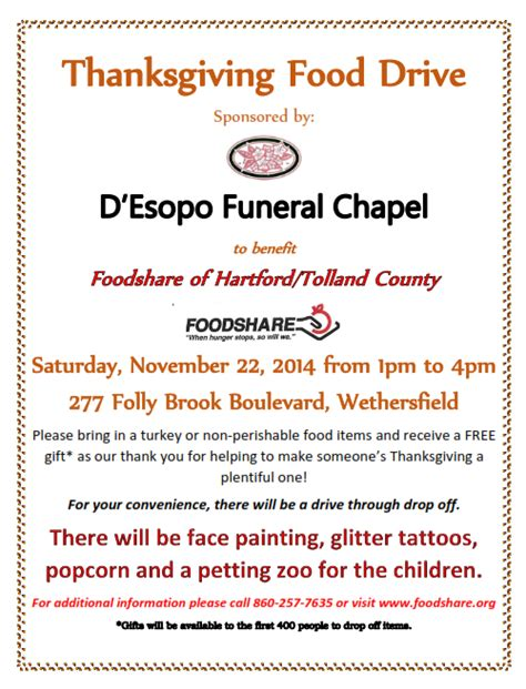 d esopo funeral chapel to host thanksgiving food drive