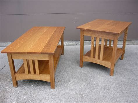 Handmade Oak Tables - handmade quartersawn oak mission style coffee table and