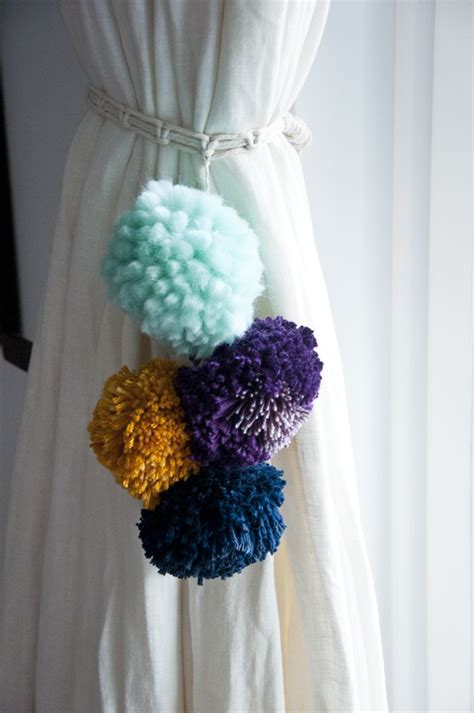 make your own curtain tie backs weave this make your own pom curtain tie back the