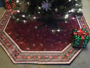 large elegant octagon christmas tree skirt in holiday