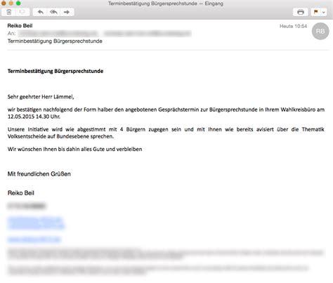 Mit Freundlichen Grüßen Mail Terminbest 228 Tigung B 252 Rgersprechstunde Andreas L 228 Mmel Mdb Cdu 187 E Mail Volksentscheid