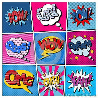 comic bubbles set expressions bom cool pow oops wow