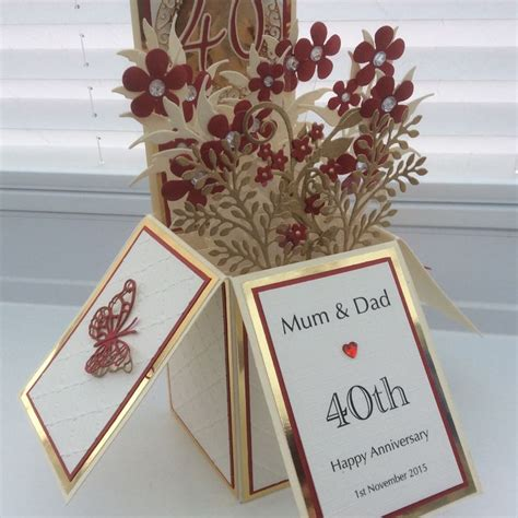 pop up anniversary card 40th wedding anniversary pop up box card box cards