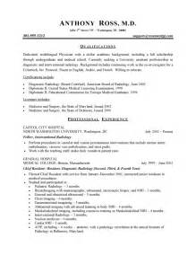Doctor Resume Templates by Physician Resume Free Sle Physician Resumes