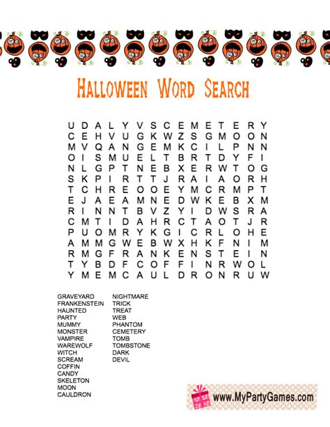 printable free word games free printable halloween word search game