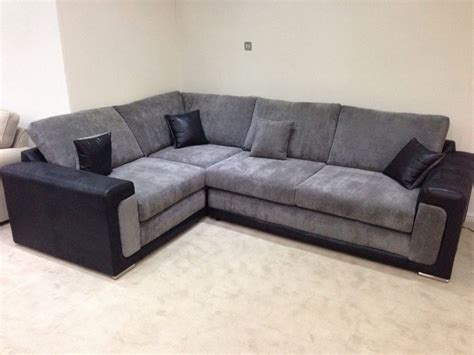 new boston fabric corner sofa suite in black and
