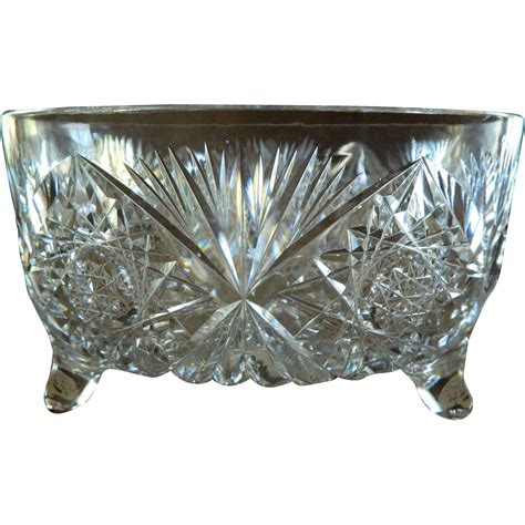 footed bowl centerpiece american brilliant cut glass footed centerpiece bowl from theopulentowl on ruby