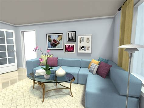 blue sofa in living room living room ideas roomsketcher