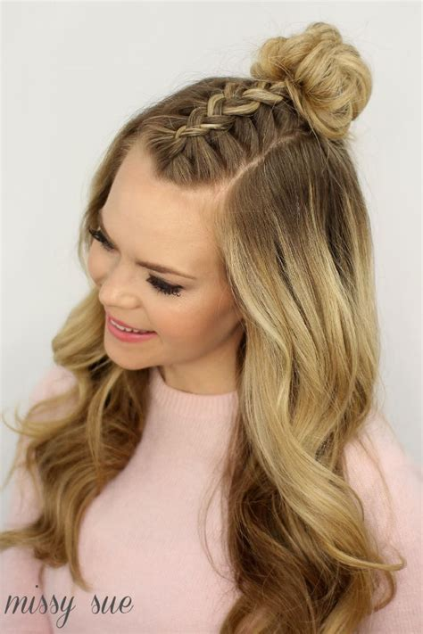 top knot or bun hair wiglet mohawk braid top knot hair tutorials pinterest