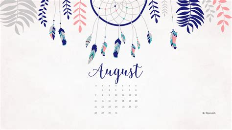 Desktop Calendar August 2016 Free Calendar Desktop Wallpaper