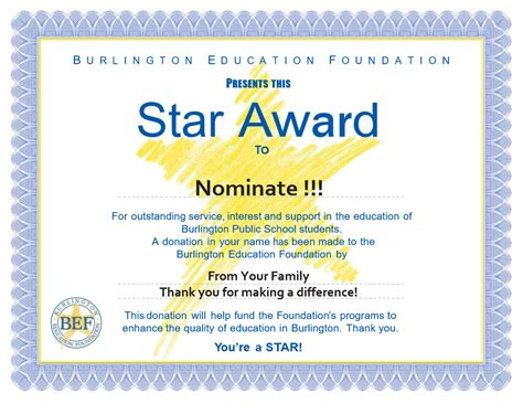 star awards burlington education foundation