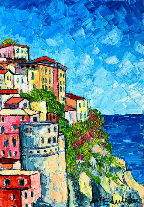 colorful houses painting cinque terre italy manarola painting detail 3 painting by