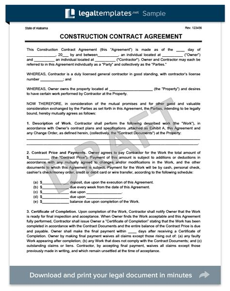 create a free construction contract agreement legal