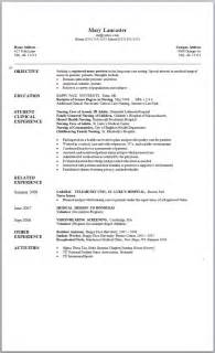 Nursing Resume Exles New Grad by Sle Nursing Resume New Graduate Nursing And