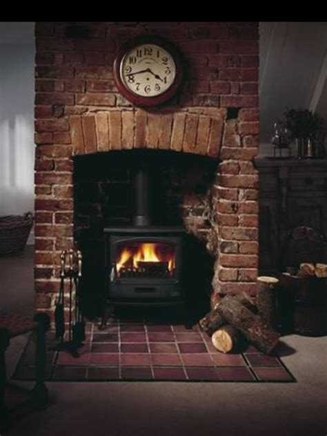 Salter Fireplace by Inset Stove Slightly Arched Brick Decor