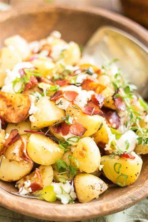 heat of the summer potato salad recipe beachpeach warm potato salad with creamy goat cheese and crispy bacon